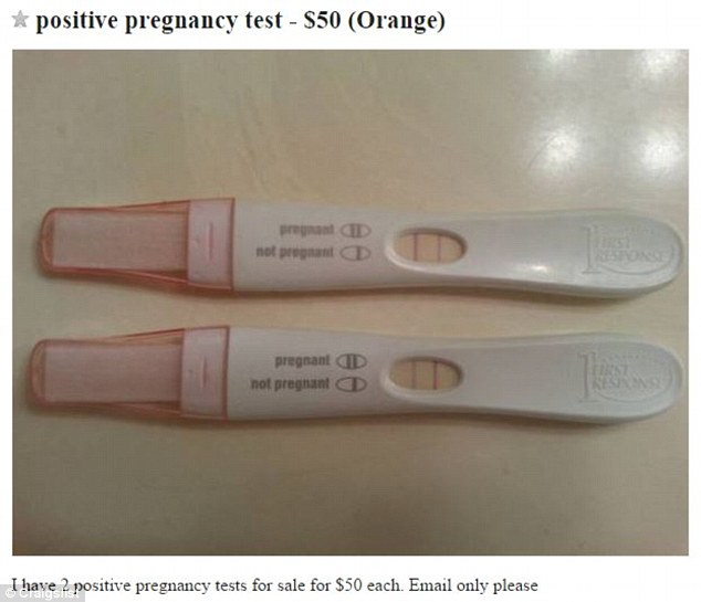 Positive pregnancy tests being sold on Craigslist