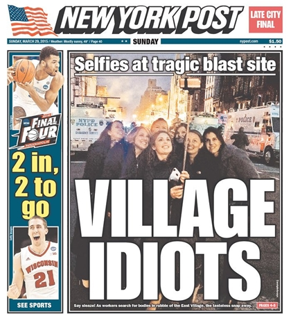 selfies taken at the still-smoldering site of a deadly building explosion is not one of them