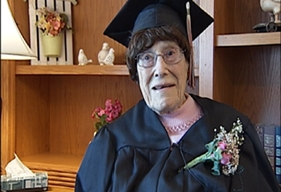 Life-long Spring Green resident Marie Hunt received her high school diploma on Friday. She would have been in the class of 1928
