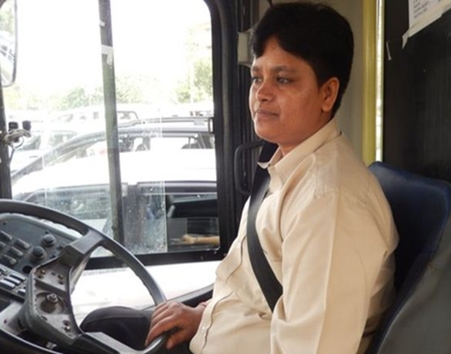 The first woman bus driver in India's capital Delhi has told BBC Hindi that her priority is to ensure the safety of her female passengers