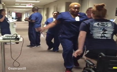 Bailey Murrill surprised her shocked favorite nurse when she got up and stood on her own for the first time after being inexplicably paralyzed for 11 days
