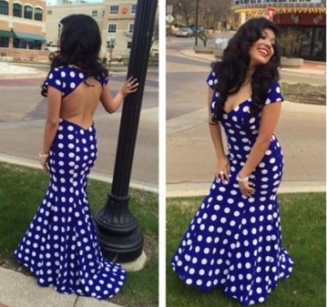 Mireya Briceno, was booted from her senior prom for wearing a dress that was too revealing. The teen followed the high school's obviously strict dress code when she wore a backless royal blue dress with white polka dots